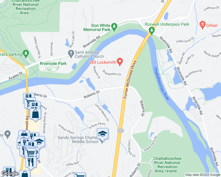 map of restaurants, bars, coffee shops, grocery stores, and more near 9373 Roberts Drive in Sandy Springs