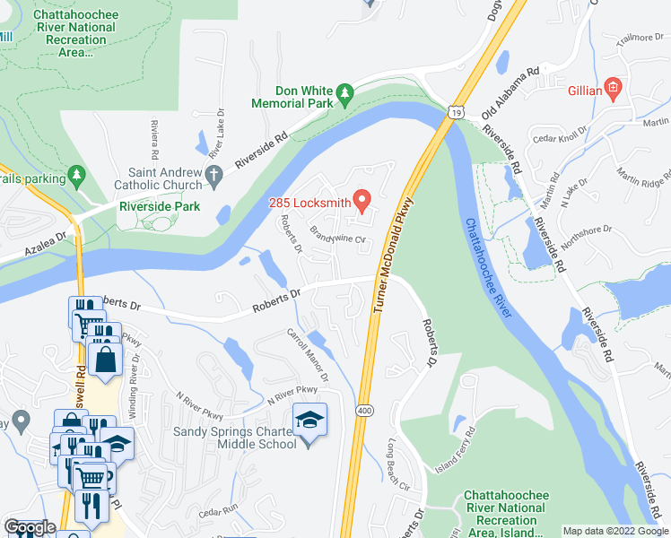 map of restaurants, bars, coffee shops, grocery stores, and more near Roberts Drive in Atlanta