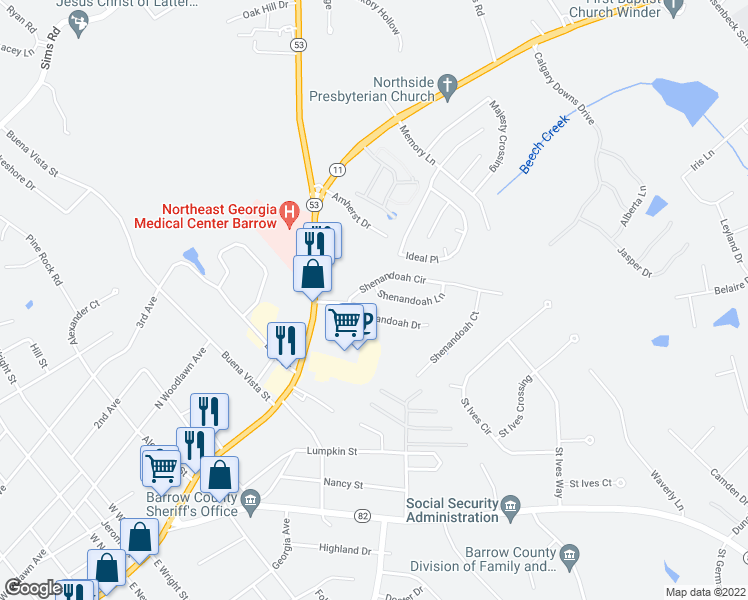 map of restaurants, bars, coffee shops, grocery stores, and more near 503 Shenandoah Lane in Winder
