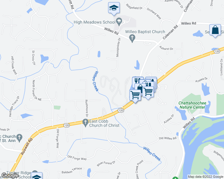 map of restaurants, bars, coffee shops, grocery stores, and more near 88 Barrington Oaks Ridge in Roswell
