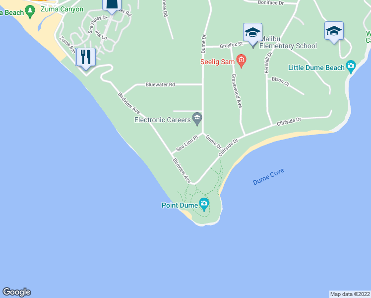 map of restaurants, bars, coffee shops, grocery stores, and more near 29260 Sea Lion Place in Malibu