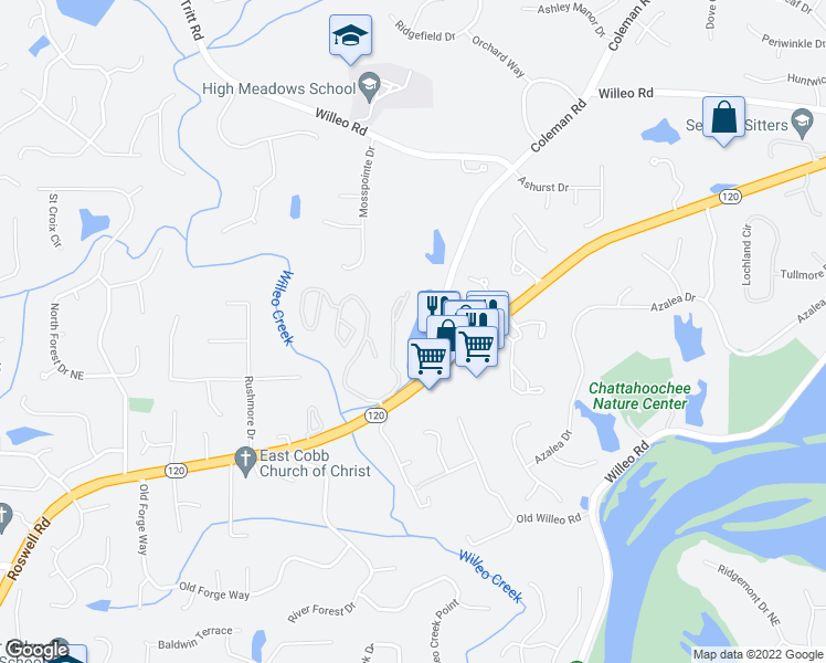 map of restaurants, bars, coffee shops, grocery stores, and more near 4001 Lake Pointe Circle in Roswell