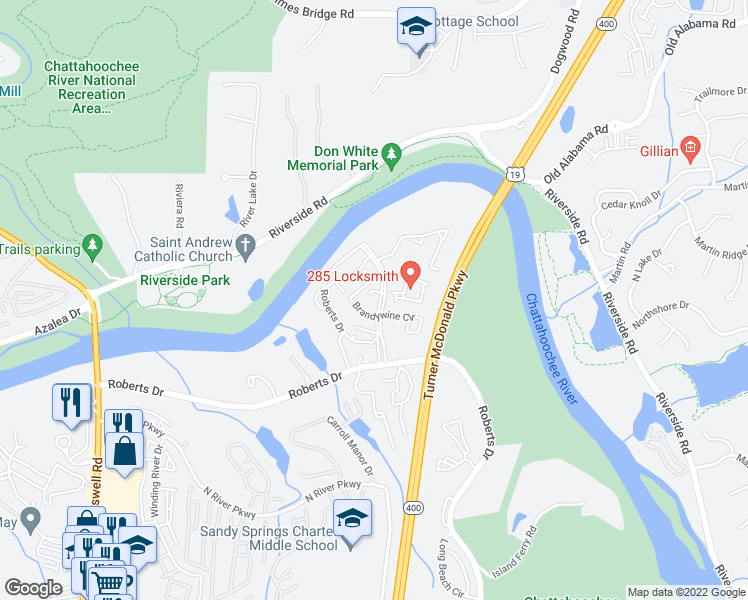 map of restaurants, bars, coffee shops, grocery stores, and more near 9401 Roberts Drive in Sandy Springs