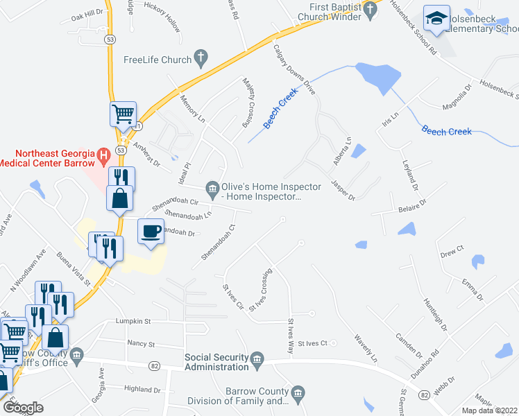 map of restaurants, bars, coffee shops, grocery stores, and more near 352 Shenandoah Circle in Winder