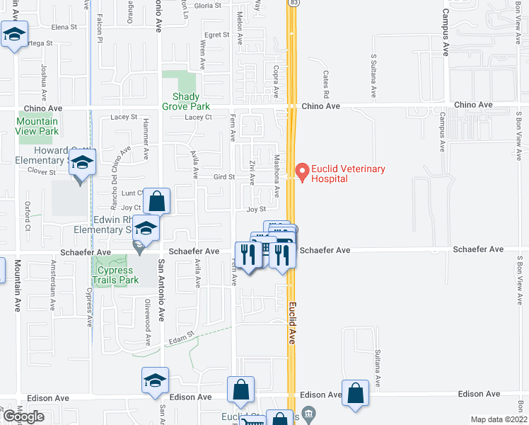 map of restaurants, bars, coffee shops, grocery stores, and more near 7019 Joy Street in Chino
