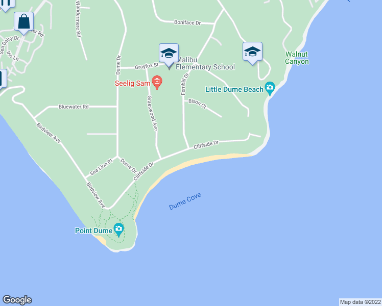 map of restaurants, bars, coffee shops, grocery stores, and more near 29000 Cliffside Drive in Malibu