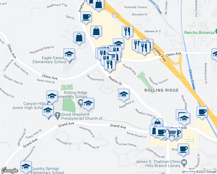 map of restaurants, bars, coffee shops, grocery stores, and more near 2851 Bedford Lane in Chino Hills