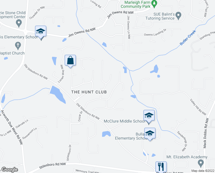map of restaurants, bars, coffee shops, grocery stores, and more near 2202 9 Oaks Drive Northwest in Kennesaw