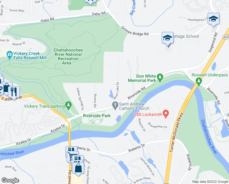 map of restaurants, bars, coffee shops, grocery stores, and more near 9430 River Lake Drive in Roswell