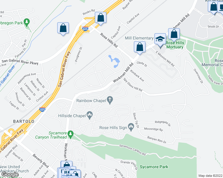 map of restaurants, bars, coffee shops, grocery stores, and more near 4512 Workman Mill Road in Whittier