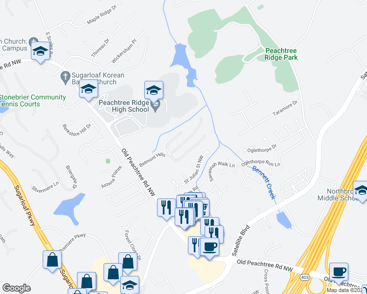 map of restaurants, bars, coffee shops, grocery stores, and more near 1510 Belmont Hills Drive in Suwanee