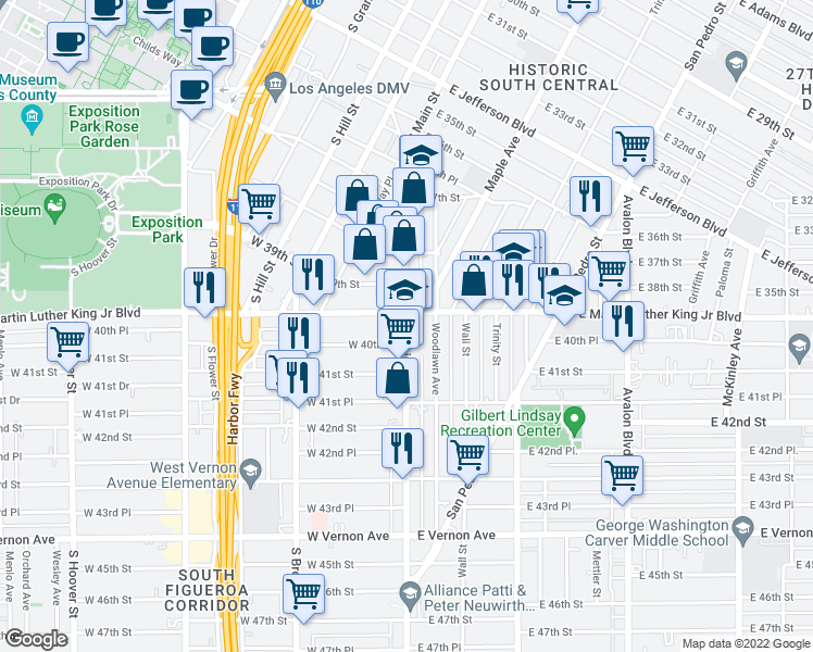 map of restaurants, bars, coffee shops, grocery stores, and more near 102 East Martin Luther King Junior Boulevard in Los Angeles