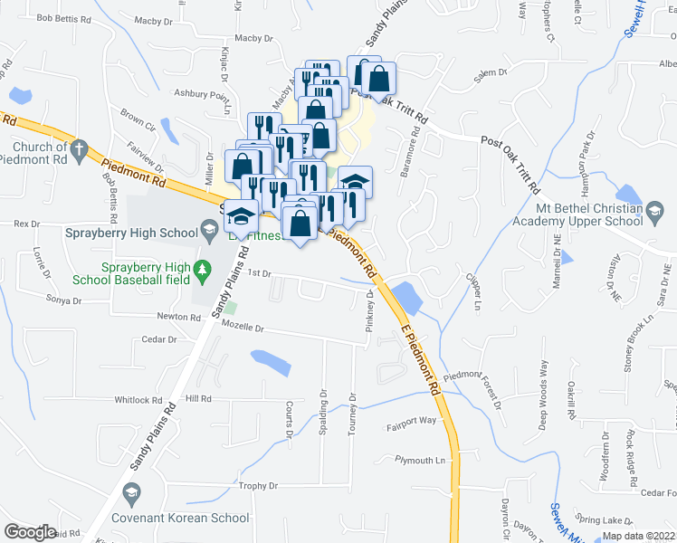 map of restaurants, bars, coffee shops, grocery stores, and more near 2531 East Piedmont Road in Marietta