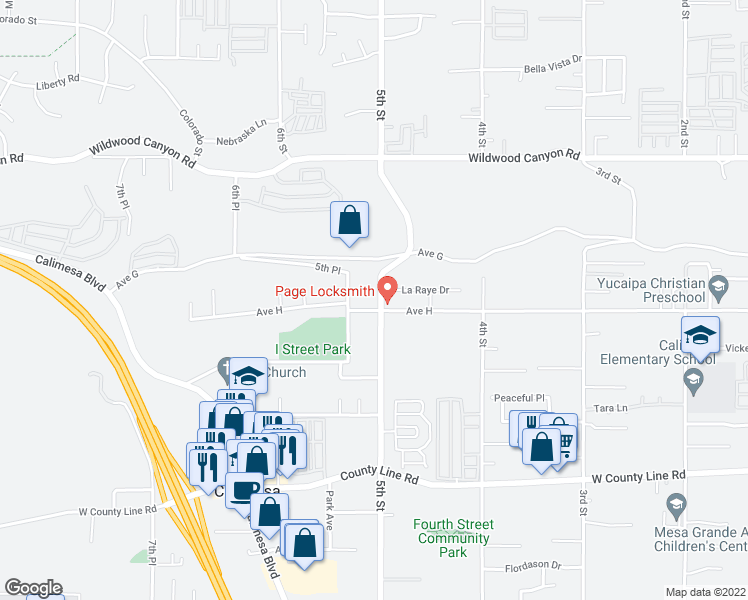 map of restaurants, bars, coffee shops, grocery stores, and more near 13382 5th Street in Yucaipa