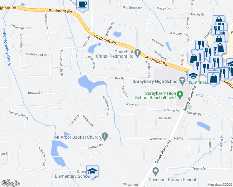 map of restaurants, bars, coffee shops, grocery stores, and more near 2461 Annandale Drive in Marietta