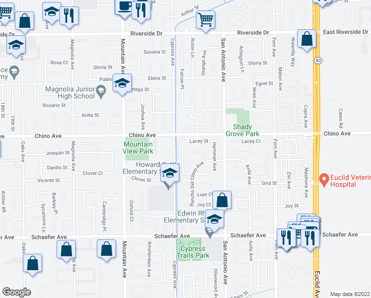 map of restaurants, bars, coffee shops, grocery stores, and more near 13349 Nellie Avenue in Chino