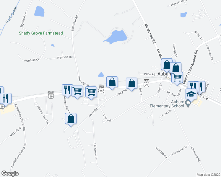 map of restaurants, bars, coffee shops, grocery stores, and more near 1451 Atlanta Highway in Auburn
