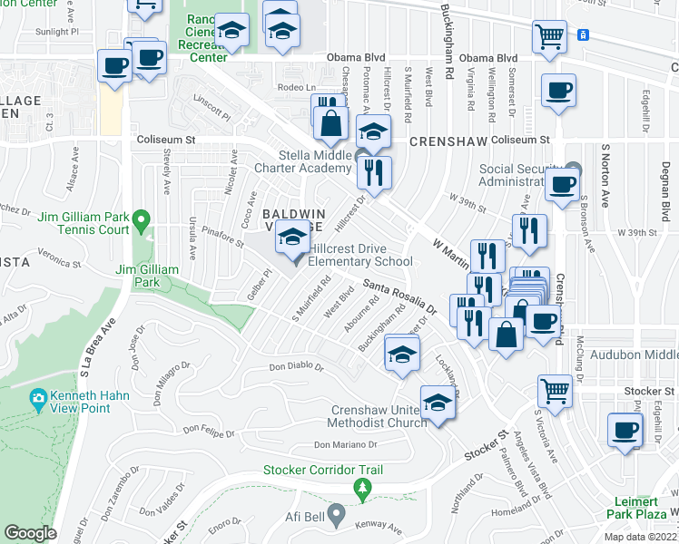 map of restaurants, bars, coffee shops, grocery stores, and more near 4027 West Boulevard in Los Angeles