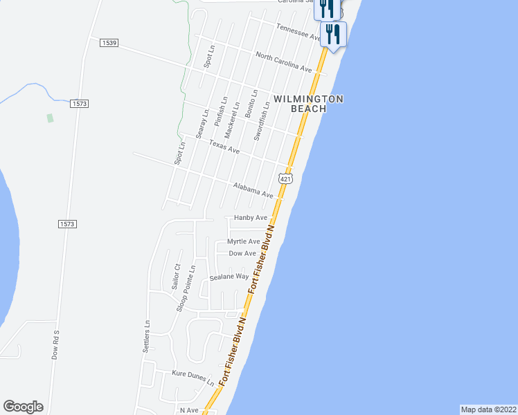 map of restaurants, bars, coffee shops, grocery stores, and more near 1710 Bowfin Lane in Carolina Beach