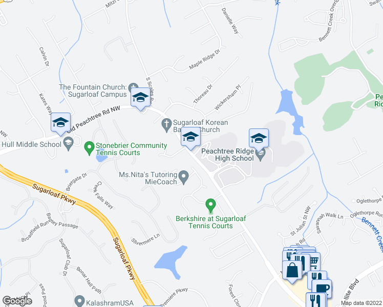 map of restaurants, bars, coffee shops, grocery stores, and more near 1649 Old Peachtree Road Northwest in Suwanee