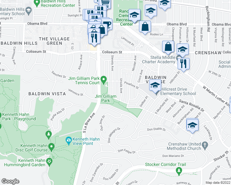 map of restaurants, bars, coffee shops, grocery stores, and more near 4050 Stevely Avenue in Los Angeles