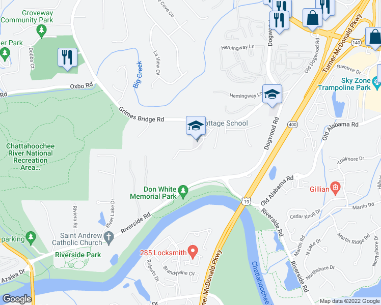 map of restaurants, bars, coffee shops, grocery stores, and more near 700 River Bluff Parkway in Roswell