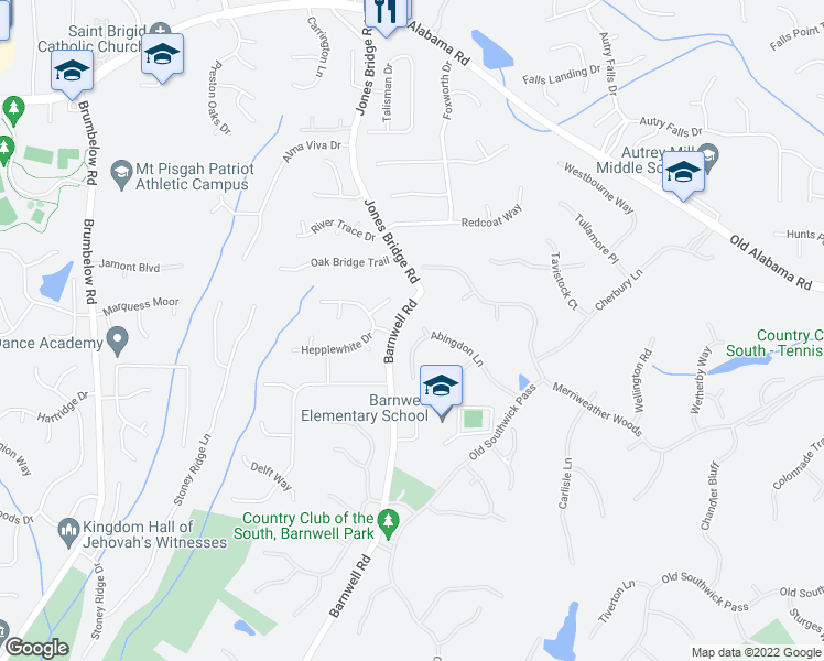 map of restaurants, bars, coffee shops, grocery stores, and more near 1051 Abingdon Lane in Alpharetta