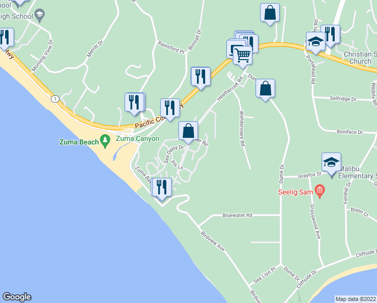 map of restaurants, bars, coffee shops, grocery stores, and more near 29500 Heathercliff Road in Malibu