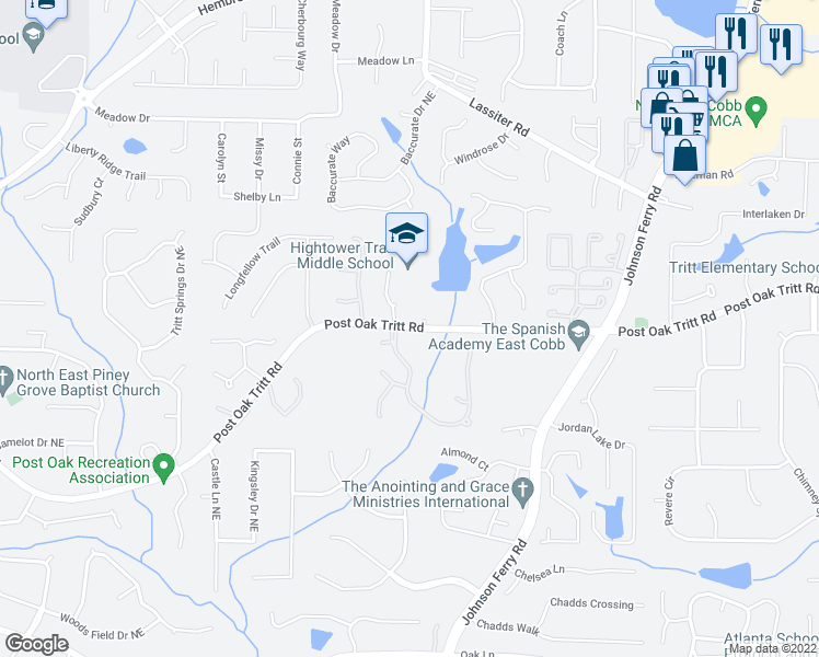 map of restaurants, bars, coffee shops, grocery stores, and more near 3861-3865 Post Oak Tritt Road in Marietta