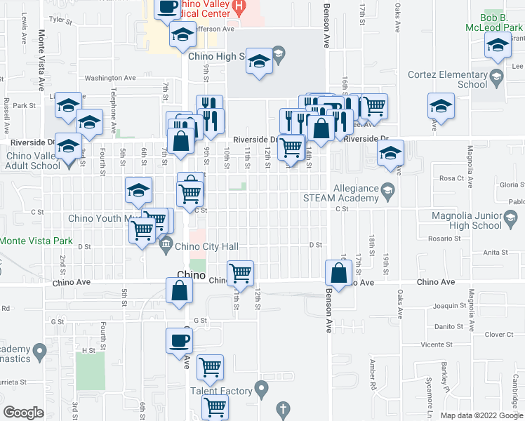 map of restaurants, bars, coffee shops, grocery stores, and more near 5491 C Street in Chino