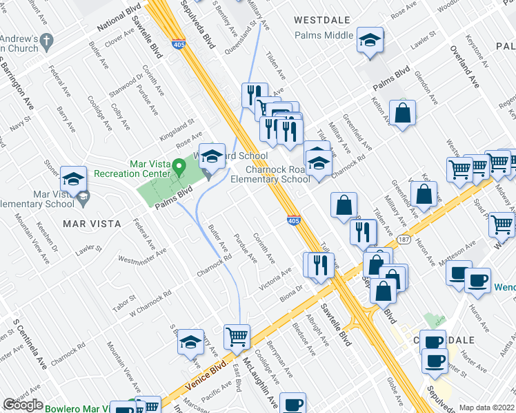 map of restaurants, bars, coffee shops, grocery stores, and more near 3539 Sawtelle Boulevard in Los Angeles