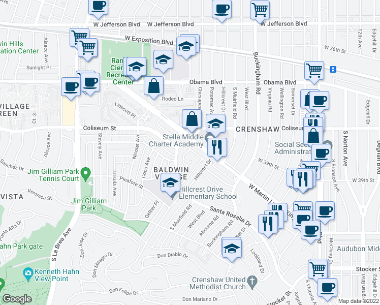 map of restaurants, bars, coffee shops, grocery stores, and more near 3845 Potomac Avenue in Los Angeles