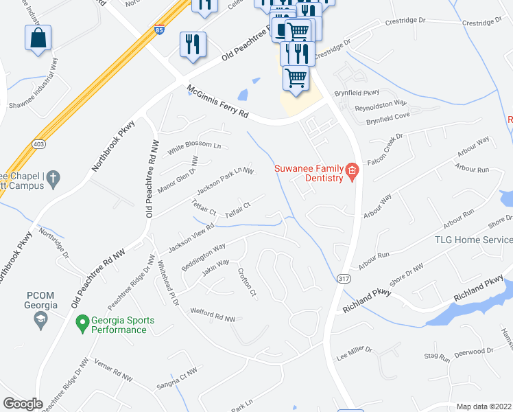 map of restaurants, bars, coffee shops, grocery stores, and more near 570 Telfair Court in Suwanee