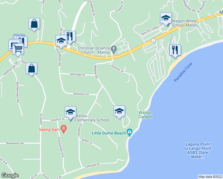map of restaurants, bars, coffee shops, grocery stores, and more near 6738 Wildlife Road in Malibu