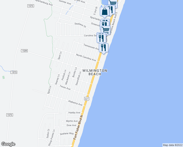 map of restaurants, bars, coffee shops, grocery stores, and more near 105 Ocean Boulevard in Carolina Beach
