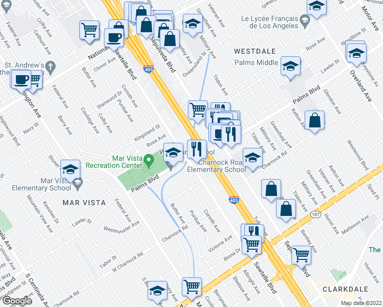 map of restaurants, bars, coffee shops, grocery stores, and more near 11275 Palms Boulevard in Los Angeles