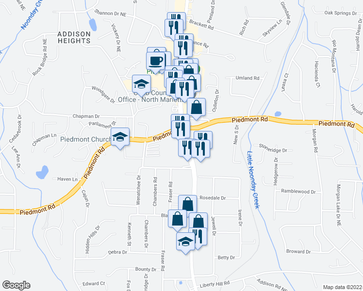 map of restaurants, bars, coffee shops, grocery stores, and more near 2755 Canton Road in Marietta