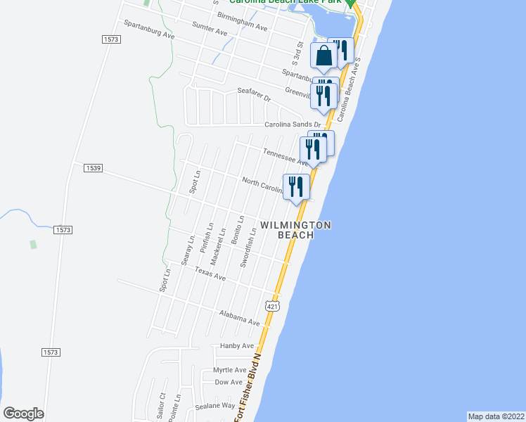 map of restaurants, bars, coffee shops, grocery stores, and more near 1317 Swordfish Lane in Carolina Beach