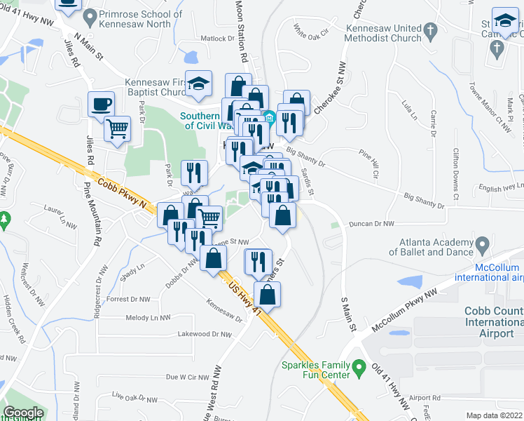map of restaurants, bars, coffee shops, grocery stores, and more near 2688-2698 School Drive in Kennesaw