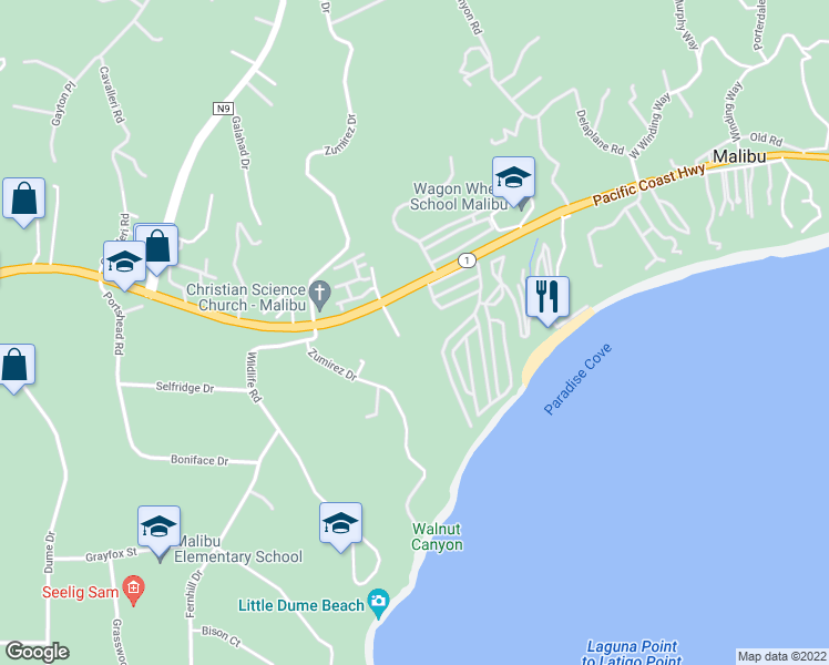 map of restaurants, bars, coffee shops, grocery stores, and more near 6540 Zuma View Place in Malibu