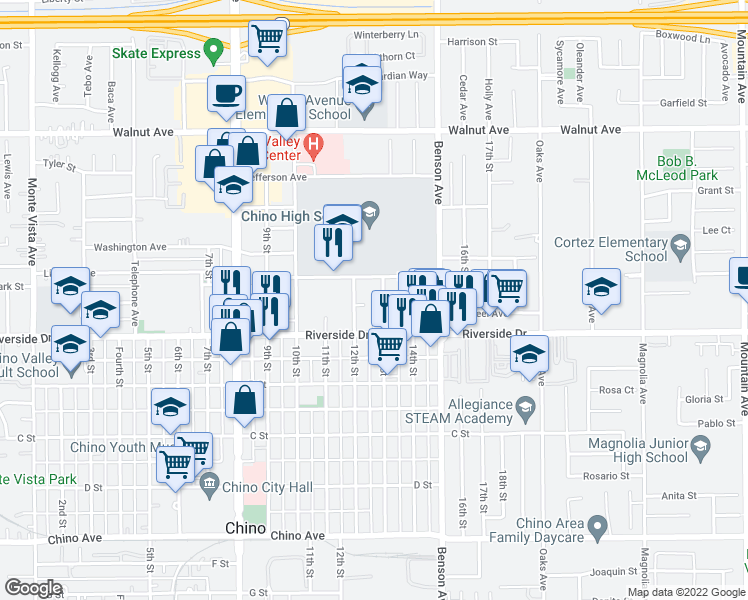 map of restaurants, bars, coffee shops, grocery stores, and more near 12849 12th Street in Chino