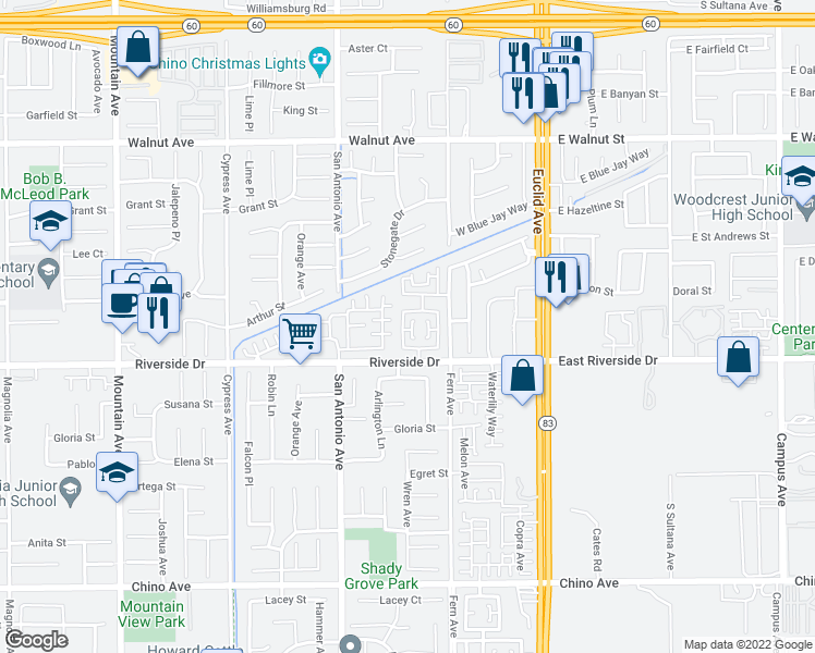 map of restaurants, bars, coffee shops, grocery stores, and more near 12829 Zinnea Avenue in Chino