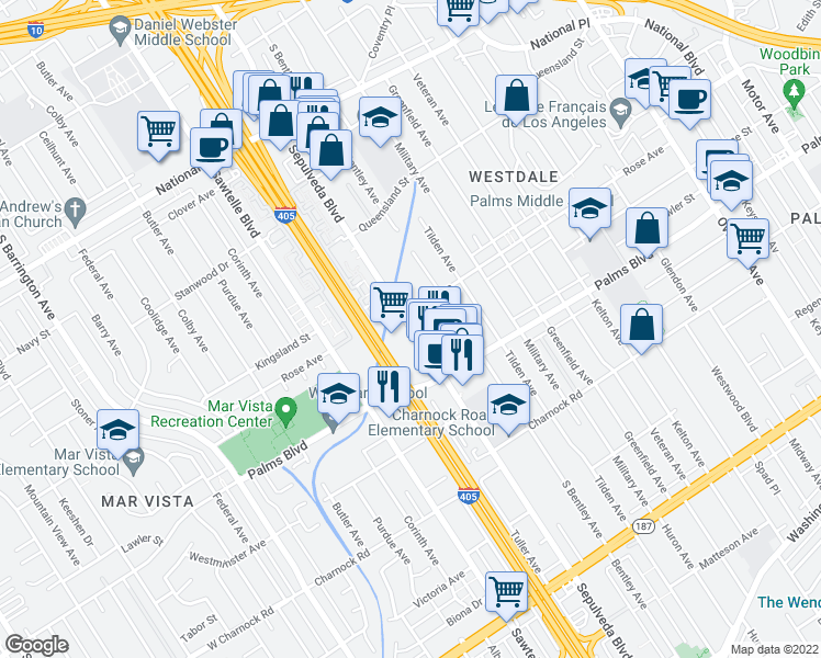 map of restaurants, bars, coffee shops, grocery stores, and more near 11133 Rose Avenue in Los Angeles