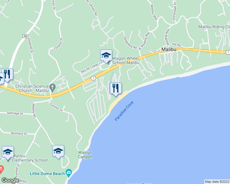 map of restaurants, bars, coffee shops, grocery stores, and more near 202 Paradise Cove Rd in Malibu