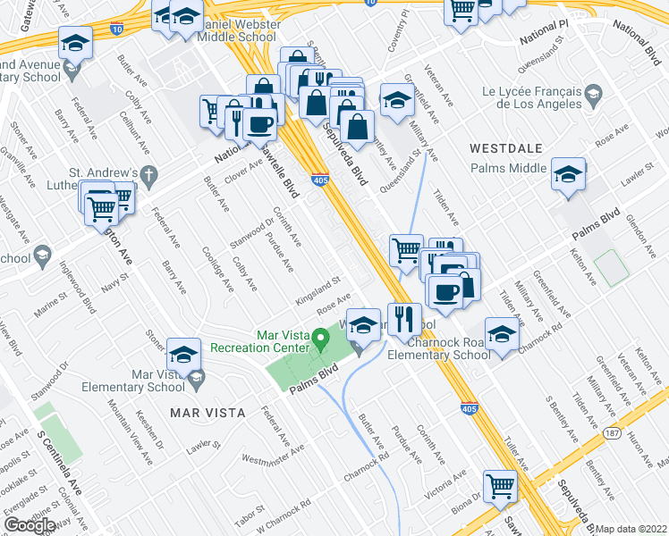 map of restaurants, bars, coffee shops, grocery stores, and more near 3281 Sawtelle Boulevard in Los Angeles