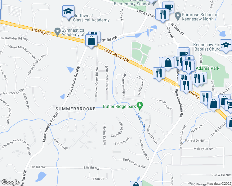 map of restaurants, bars, coffee shops, grocery stores, and more near 2772 Bent Creek Drive Northwest in Kennesaw