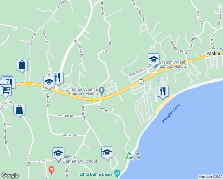map of restaurants, bars, coffee shops, grocery stores, and more near 6453 Zuma View Place in Malibu