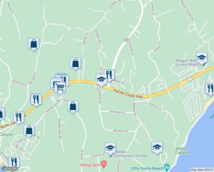 map of restaurants, bars, coffee shops, grocery stores, and more near 6454 Cavalleri Rd in Malibu