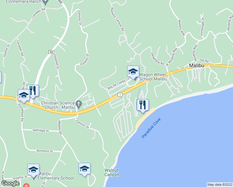 map of restaurants, bars, coffee shops, grocery stores, and more near 28364 Rey De Copas Lane in Malibu