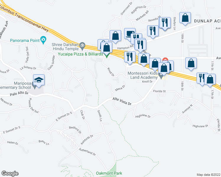 map of restaurants, bars, coffee shops, grocery stores, and more near Highview Ln in Redlands